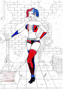 HARLEY-QUINN-by-artist-DAVI-ALVES-colored-pencil-drawing-signed-and-dated