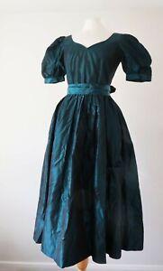 Vintage-80s-Laura-Ashley-Taffeta-Green-Puff-Sleeve-Dress-S-UK-8-10-Ballgown