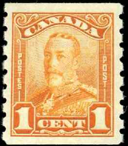 Canada-160-mint-VF-OG-H-1929-King-George-V-1c-orange-Scroll-Issue-Coil-CV-60-00