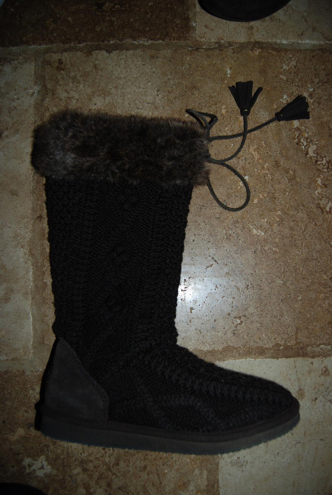 Dark Brown Cable Knit LL BEAN Tall Boots w/Faur Fur 7 Trim Worn Once US 7 Fur 00d807