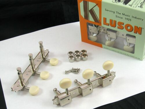 Kluson KD-3P-NP WD90NPP 3X3 3 on a Plate Oval Plastic Button Single Line Nickel