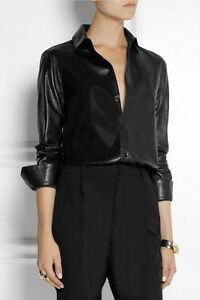 Women-Black-Leather-Shirt-top-Genuine-Lambskin-Mulitple-Colors-Available