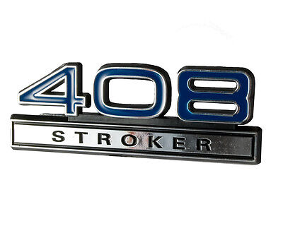 "Ford Mustang Blue & Chrome 408 Stroker 4"" Engine Size Emblem"