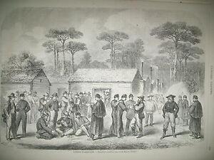 GUERRE-AMERIQUE-GEORGIE-ILE-DE-ROANOKE-PRISONNIERS-CONFeDeReS-GRAVURES-1865