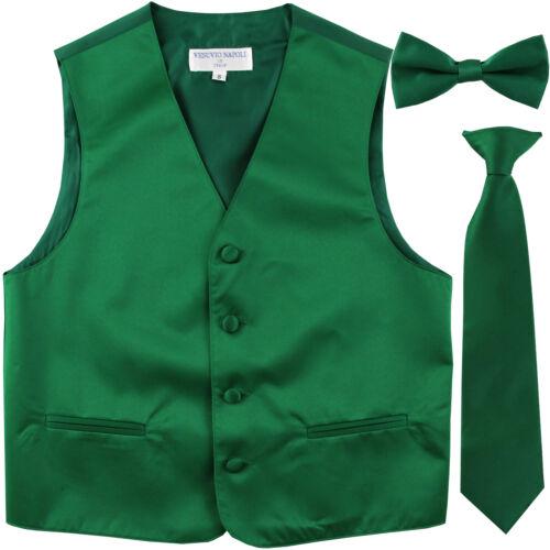 New Boy's Kid's formal Tuxedo Vest Waistcoat_necktie & bowtie Emerald green