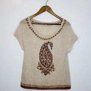 calypso-st-barth-100-Cashmere-Beige-Beaded-Short-Sleeve-Sweater-S