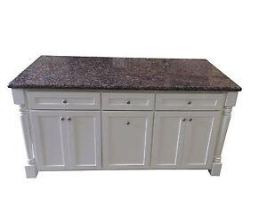 6 Ft White Kitchen Island W Baltic Brown Granite Top