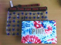 Victoria's Secret Pink Cosmetic Pouch & Wet Bikini Beach Bag Wrislet Duo Set