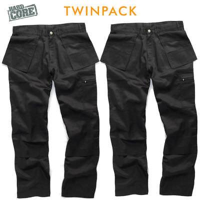 "Original Hard Core Tough Grit Black Work Cargo/combat Trouser Knee Pad Twin Pack 30-40"""