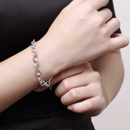 Fashion Jewelry 925 Silver Lobster Clasp Thick Chain Woman Men Bracelet HP089