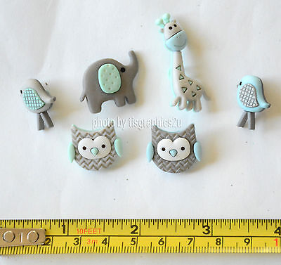 CARDMAKING//SEWING 5 BABY SAFARI JUNGLE ANIMAL THEMED NOVELTY CRAFT BUTTONS