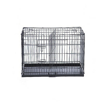 Dog Cage Crate with Divider - Metal Tray - Foldable crate with divider included