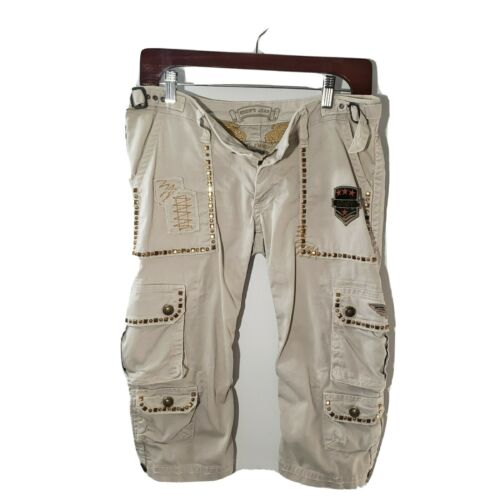 Robin Jean military cargo pants white gold size 29