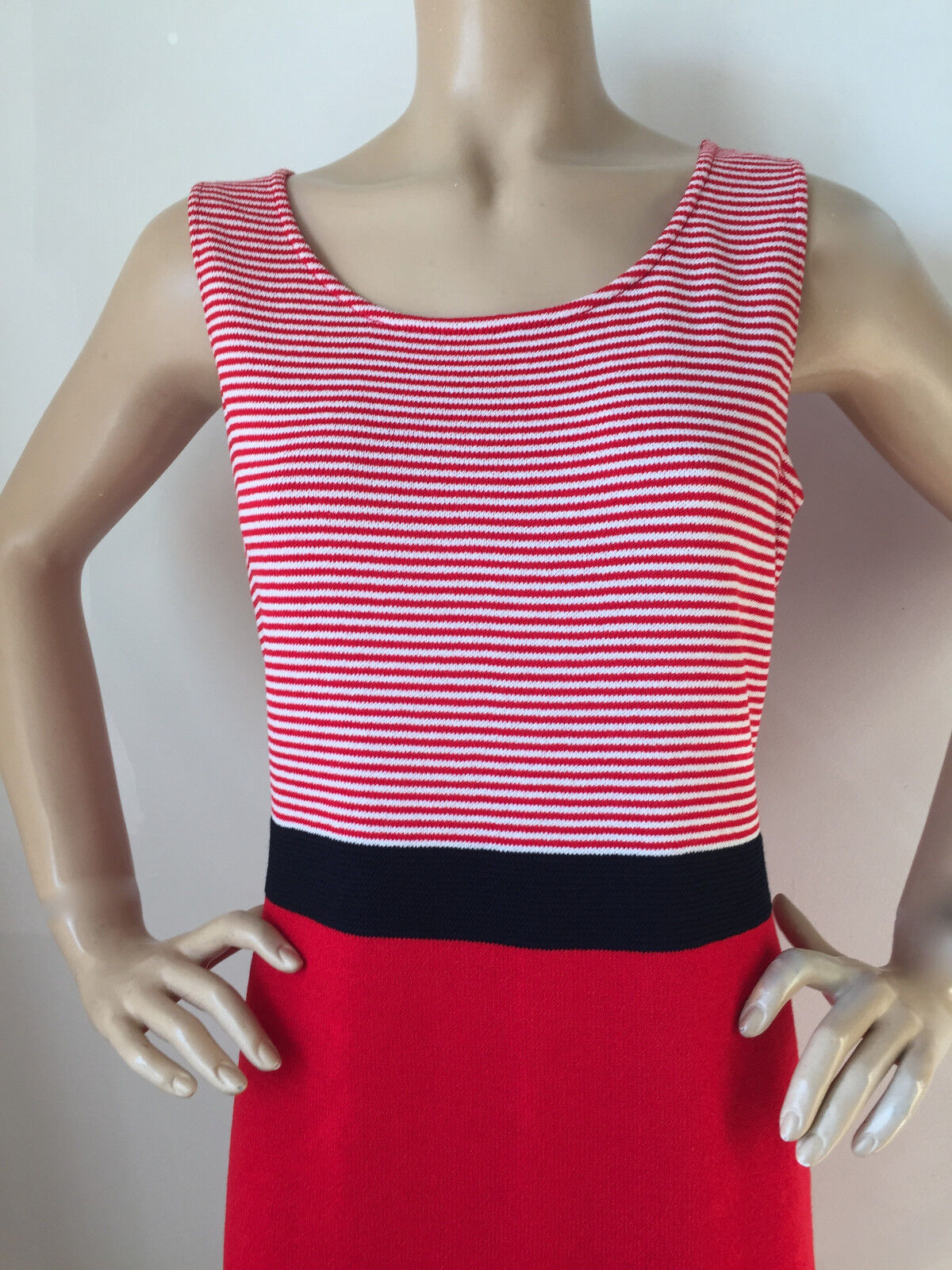 NWT St John Knit dress red sea coral & navy navy navy size 10 santana sheath 442362