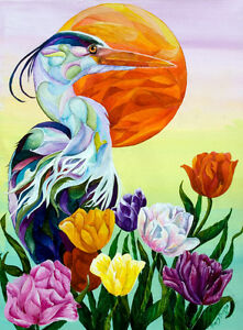 Heron-with-Tulips-Original-18x24-Acrylic-Bird-Painting-by-Sherry-Shipley