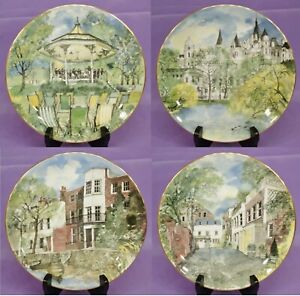 1986-Royal-Doulton-SECRET-LONDON-Set-Of-Four-4-Picture-Plates-by-Graham-Byfield