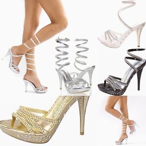 c4b2d7c552740 Image is loading Wedding-Rhinestone-Wrapped-Ankle-Stiletto-High-Heels- Platform-
