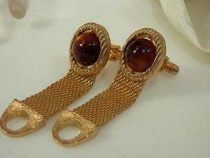 Vintage 1970s Swank Signed Moonglow Thermoset Wrap Around Cuff Links  47S4