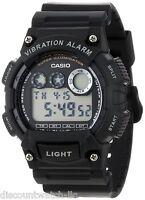 Casio W735H-1A Mens BLACK Resin Digital Sports Watch Alarm Stopwatch 100M NEW