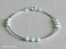 Mint Green Swarovski Crystals & Sterling Silver Curve Tubes Elegant Bracelet