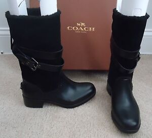 Coach Black Suede Fur Lined Waterproof Moto Winter Snow