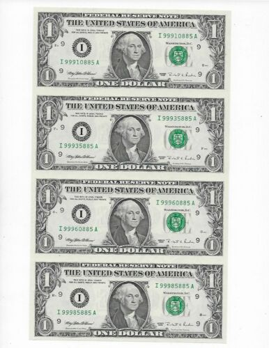 Uncut Sheet of 4 $1 2003 Richmond Notes Gem Crisp Uncirculated