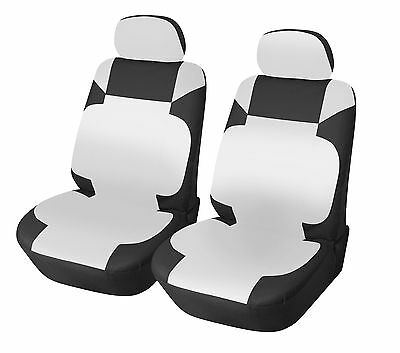 Leather Like 2 Front Car Seat Covers for Ford 153 Bk/white