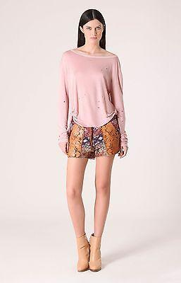 Liberty Garden Boho Floral Shorts Terry w Faux Leather XS S NWT $70 4SCJ8007