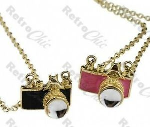 Mini fm2 vintage camera pendant necklace gold plated chain pink image is loading mini fm2 vintage camera pendant necklace gold plated aloadofball Gallery