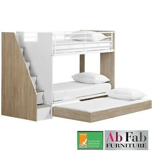 Bunk Beds Ultimate Single Trio Bed Stairs Cupboard Storage Trundle White Oak Ebay