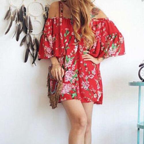 Damen Blume Schulterfrei Minikleid Sommerkleid Strandkleid Rüschen Freizeitkleid