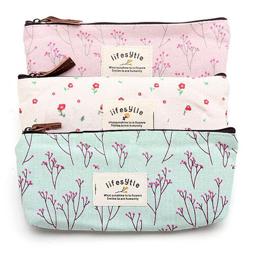 Enticing Vogue Flower Floral Pencil Pen Case Makeup Tool Bag Storage Pouch Purse