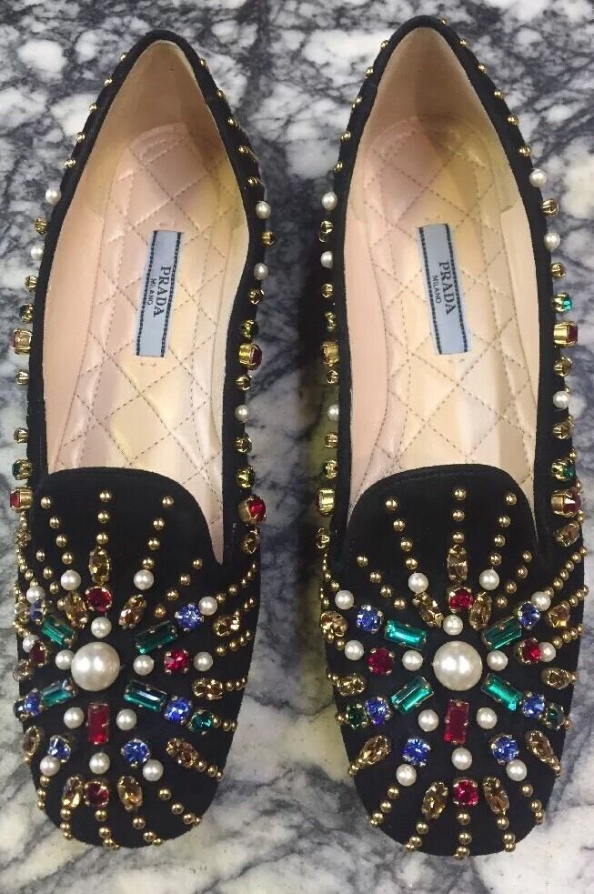 New PRADA Black Suede  jeweled    Flats  Sz 36 796e90