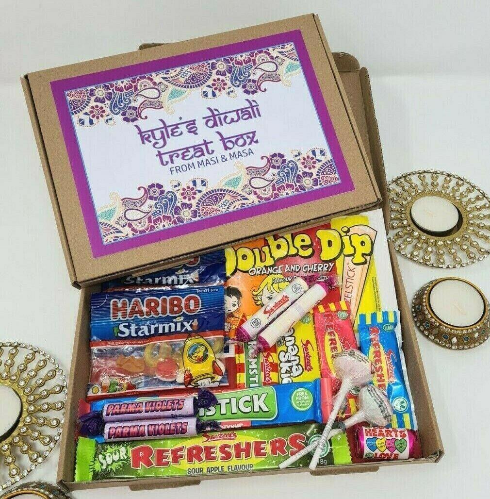 Caja De Dulces Personalizada Diwali Niños Cesta de Regalo Dulces Retro Vegano Golosinas