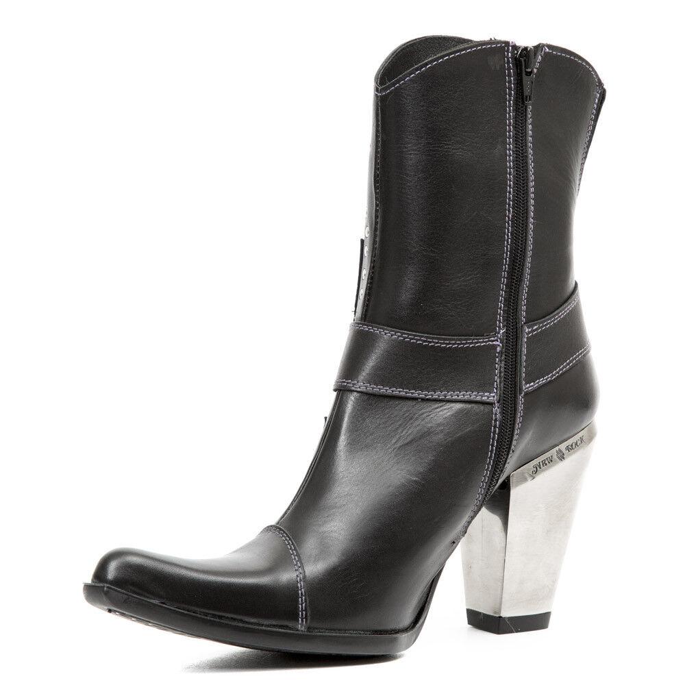 New New New Rock NR M.7919 S1 Noir, Silver-bottes, Bull, Femmes 232767