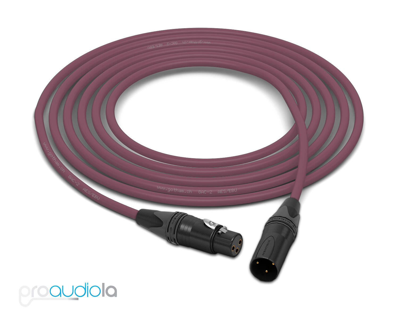 Gotham GAC-2 AES EBU Cable   Neutrik Gold XLR-F XLR-M   lila 45 Feet 45 Ft 45'