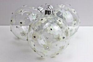 Gisela-Graham-Natale-Chiaro-Ball-Irid-Fiore-Glitter-Diamante-Vetro-Bauble-x-3