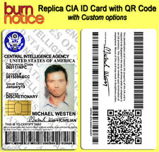 Burn Notice Replica CIA Michael Westen PVC ID Card with QR code - COSPLAY