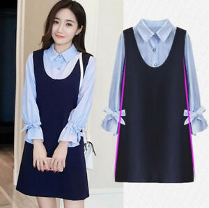Autumn-Korean-Pregnancy-Fashion-Splice-Long-Sleeve-Casual-Maternity-Shirt-Dress
