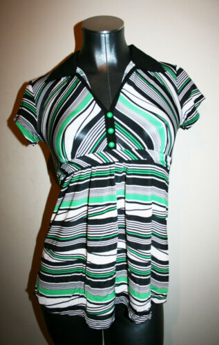 Green Small Top Black Retro Vtg Womens A Maternity Tomorrow New Striped S White IIpBaqw