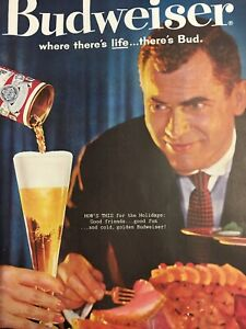 Vintage-1960-BUDWEISER-Beer-Anheuser-Busch-Holiday-Drink-Print-Ad-There-s-Bud
