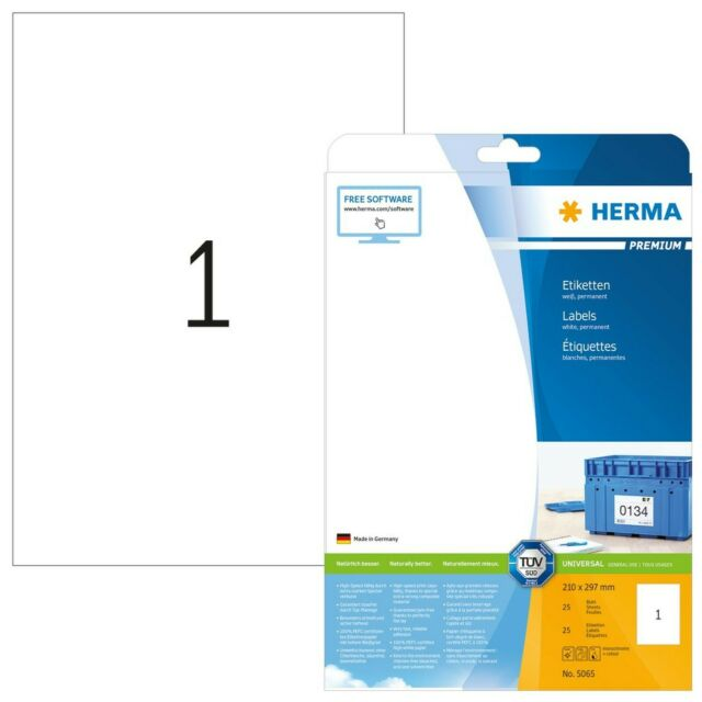 Herma 5065 etiquetas Premium A4 210x297 mm White Paper Mate 25 PCS.