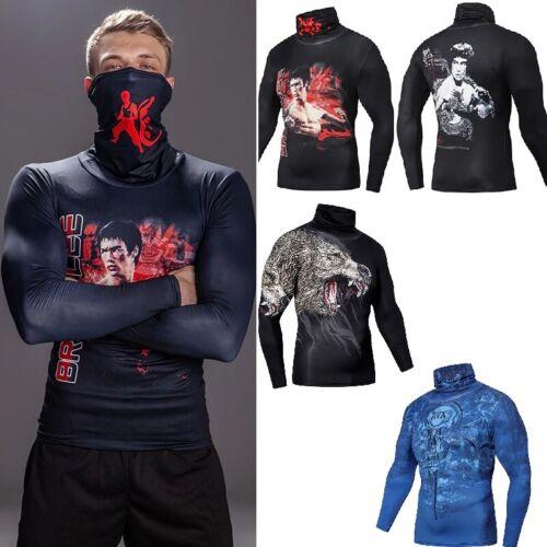 Bruce Lee MMA Brésilien Rash Guard Compression Haut à manches longues pour homme gym couche de base NOUVEAU