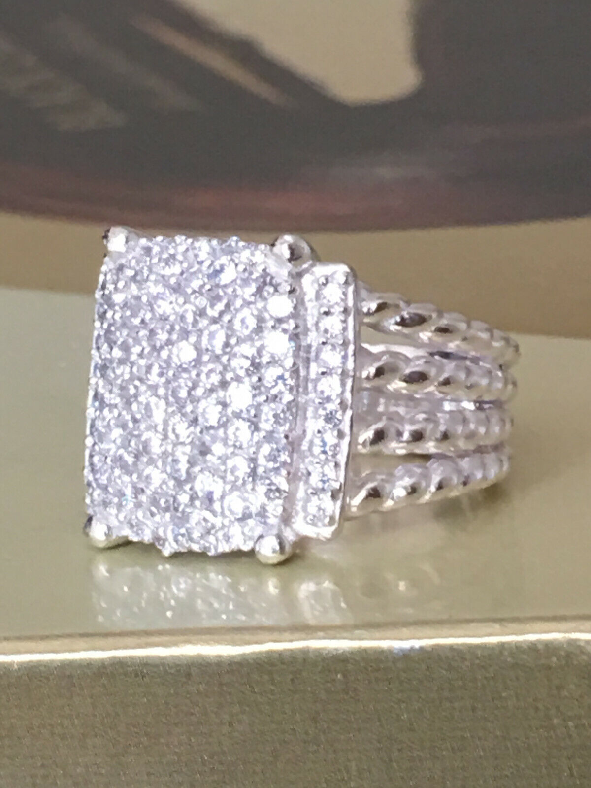 Designer Inspired 16 x 12mm Wheaton Ring with 1.22Ct Pave Diamonds Ring Size 7
