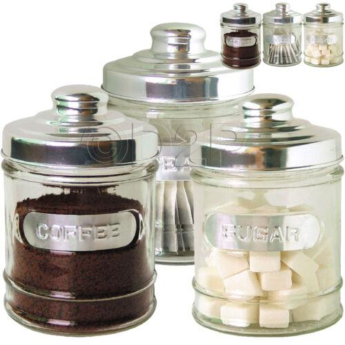 3PC Verre Cuisine Café Thé Sucre couvercle en acier inoxydable pot de stockage nouvelle boîte métallique