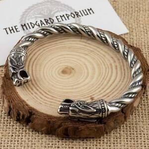 Viking-Odin-039-s-Wolves-Bracelet-Stainless-Steel-Arm-Ring-Norse-Mens-Jewellery