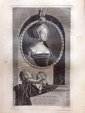 ANNA BOLENA regina consorte  Inghilterra Ritratto Vermeulen Acquaforte XVIII sec