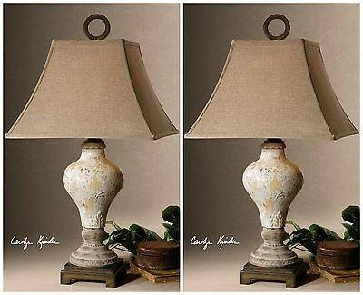 TWO RICH CRACKLED IVORY CERAMIC TABLE LAMPS TAN & BRONZE ACCENTS READING LIGHT