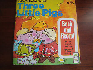 THREE-LITTLE-PIGS-45-Vinyl-Record-and-Book-Read-Along-Book-amp-Record-Set-VG