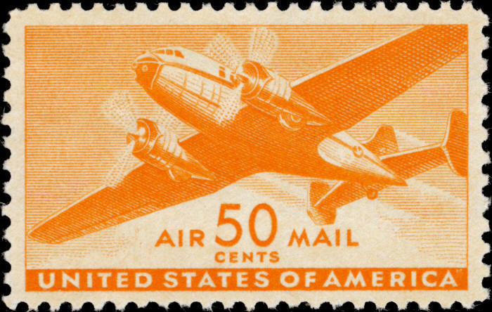1941 50c Twin-Motored Transport Plane, Air Mail, Orange
